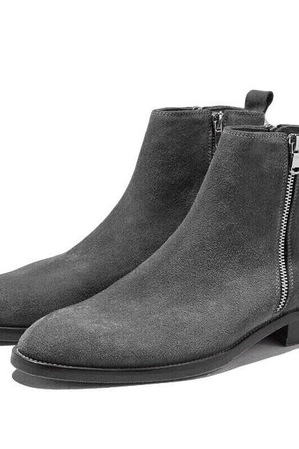 Handmade Gray Color Side Zipper Boot Men's Dress Ankle High Suede Stylish Boot