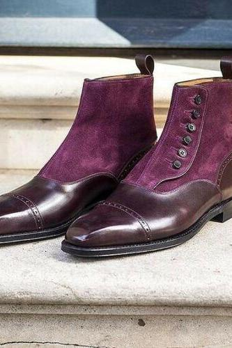 Handmade Pure Burgundy Leather & Purple Suede Button Boots for Men's