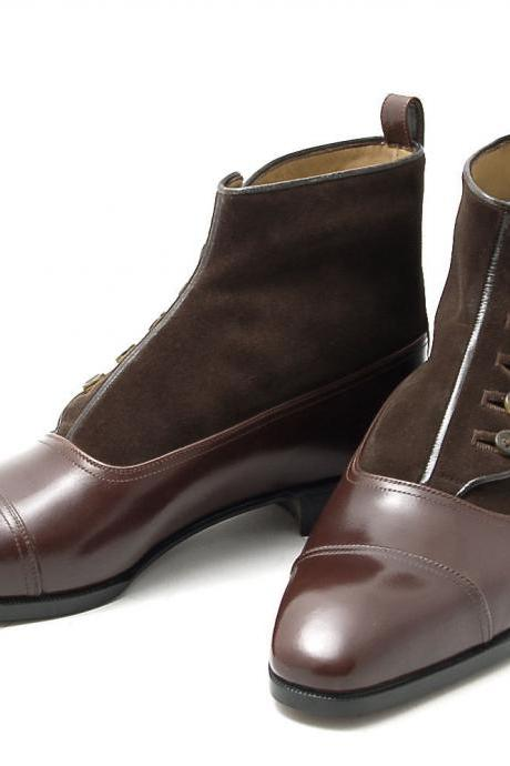 Handmade Brown Color Leather & Suede Button Cap Toe Boots for Men's