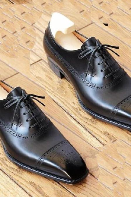 Handmade Black Leather Casual Shoes, Men's Lace Up Cap Toe Brogue Shoes