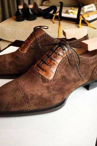 Handmade Tan Brown Alligator Leather Suede Casual Shoes, Men's Cap Toe Lace Up Shoes
