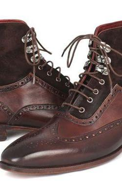 Handmade Brown Color Leather Suede Wing Tip Brogue Lace Up Boots for Men's