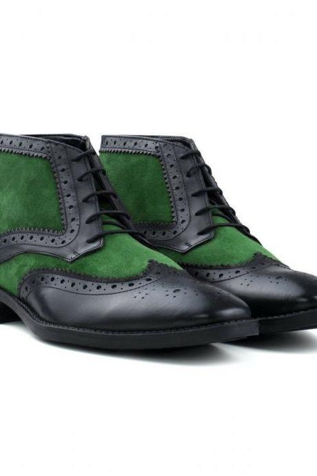 Handmade Black Green Color Leather Suede Wing Tip Brogue Lace Up Boots for Men's