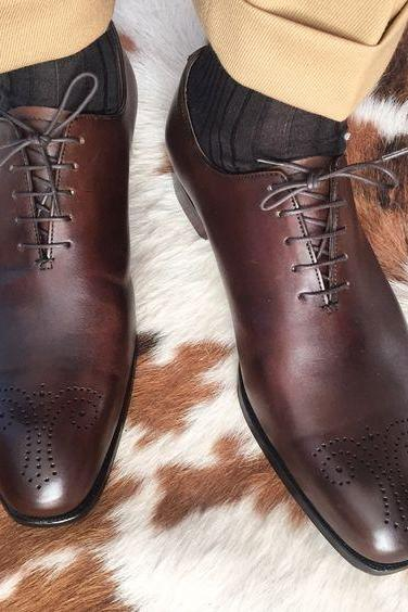 Handmade Brown Color Leather Brogue Shoes, Men's Lace Up Casual Shoes