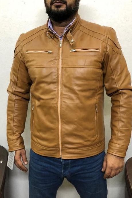 Men Motorcycle Genuine Lambskin Leather Jacket Tan Color Slim fit Biker jacket
