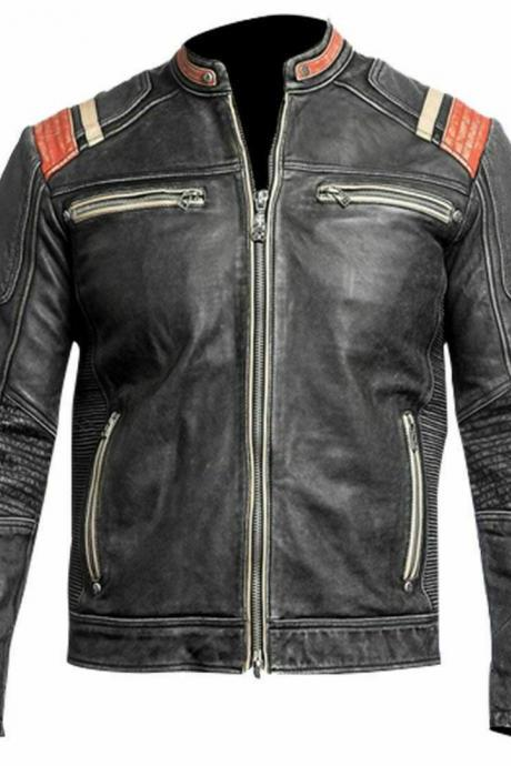 Men's Retro 3 Cafe Racer Biker Vintage Motorcycle Distressed Leather Jacket For Men