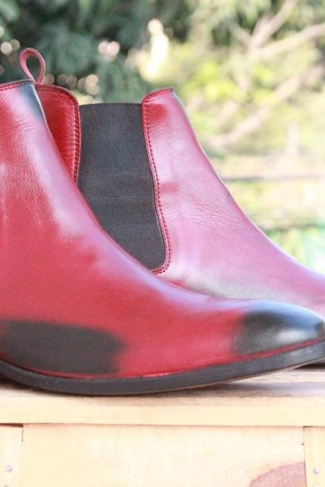 Men's Ankle High Black Burgundy 2 Tone Chelsea Leather boots for men's
