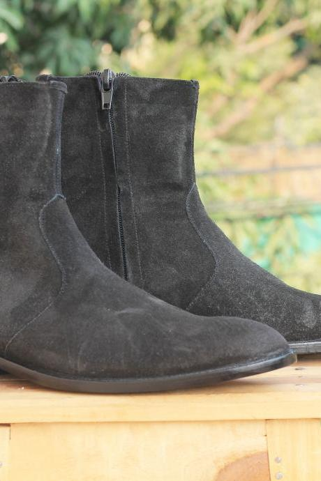 Handmade Men's Ankle High Black boots, Side Zipper Suede boots for men's