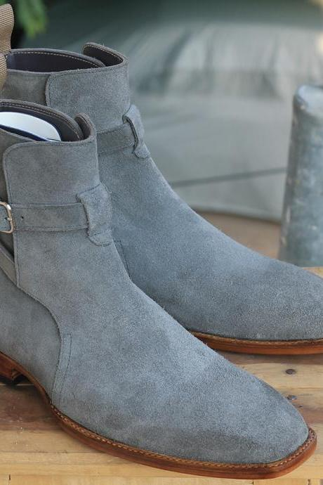 Handmade Men's Ankle High Gray boots, Jodhpurs Buckle Suede boots for men's