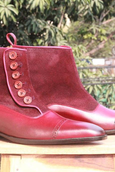 Men's Ankle High Burgundy Button Top boots Leather & Suede Cap Toe boots for men's
