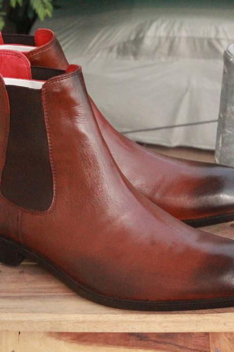 Handmade Men's Ankle High Two Tone Black Brown boots,Chelsea Leather boots for men's