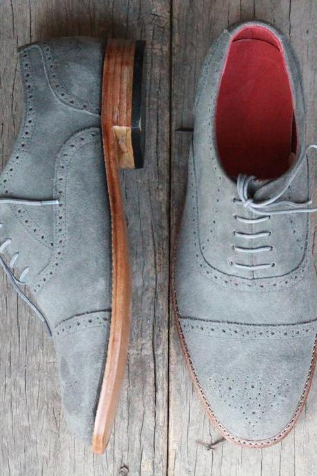 Men's Stylish Gray Suede Handmade Lace Up Cap Toe Brogue Shoes