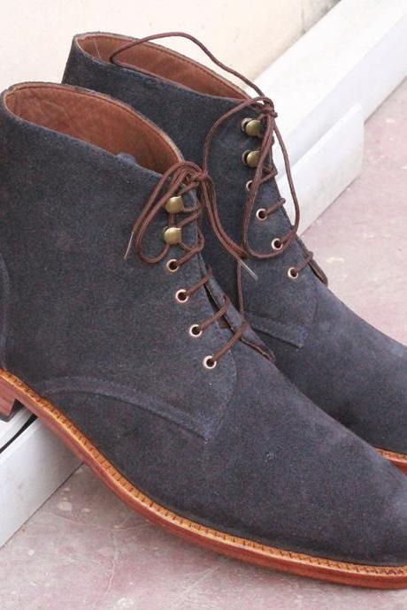 Handmade Men's Ankle boots, Navy Blue Suede Chukka Lace Up boots for men's