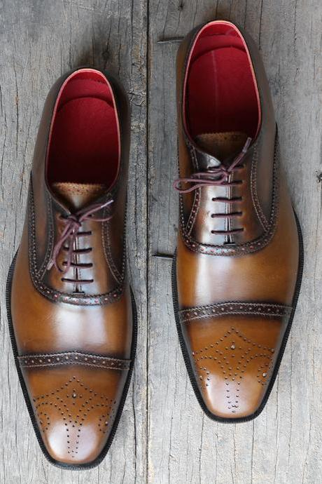 Handmade Men's Tone Cognac Leather Cap Toe Brogue Lace Up Shoes