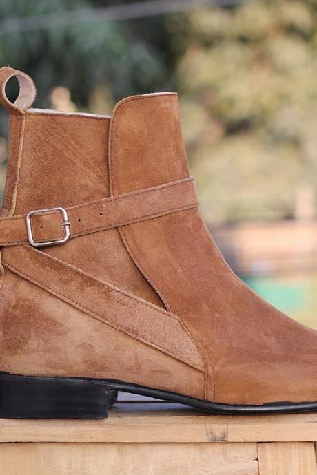 Men's Ankle High Tan Buckle boots Suede Jodhpurs boots For Men's