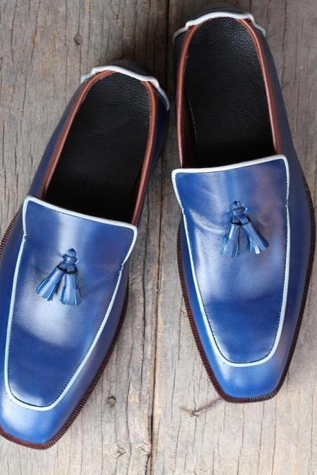 Handmade Men's Stylish Blue Leather Tussles Loafers Shoes For Men's
