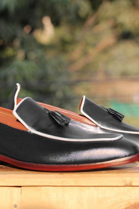 Handmade Men's Stylish Black Leather Tussles Loafers Shoes For Men's
