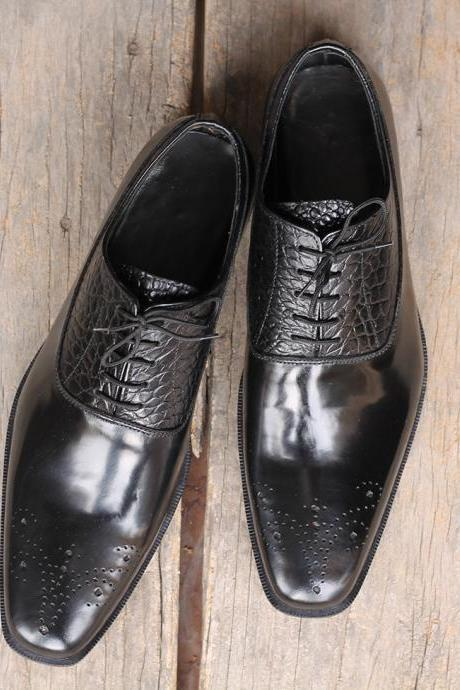 Handmade Men's Black Brogue Lace Up Alligator Leather Shoes