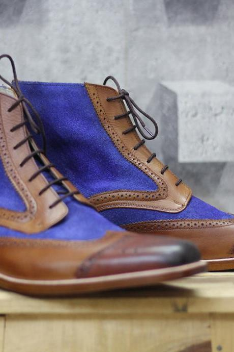 Handmade Men's Ankle High Brown Blue Boots,Suede Leather Wing Tip Boots