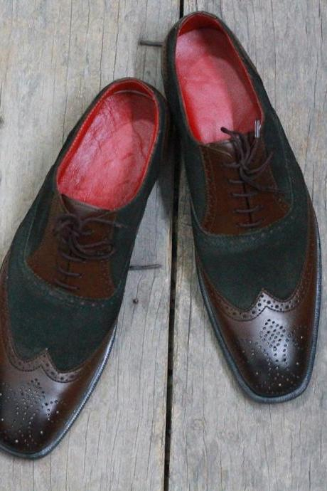 Men's Handmade Brown Black Leather Suede Wing Tip Brogue Shoes