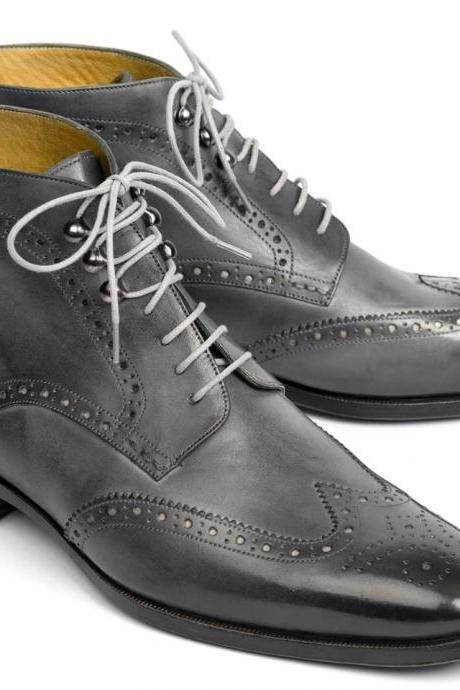 Handmade Gray Wing tip Brogue Ankle Boots Men's Leather Boots