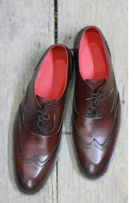 Men's Handmade Brown Wing Tip Leather Lace Up Shoes