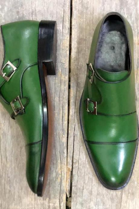 Handmade Men Green Double Monk Strap Formal Dress Leather Shoes