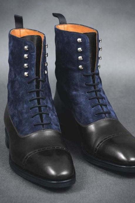 Handmade Men's Ankle High Black Navy Blue Cap Toe Leather Velvet Lace Up Boots