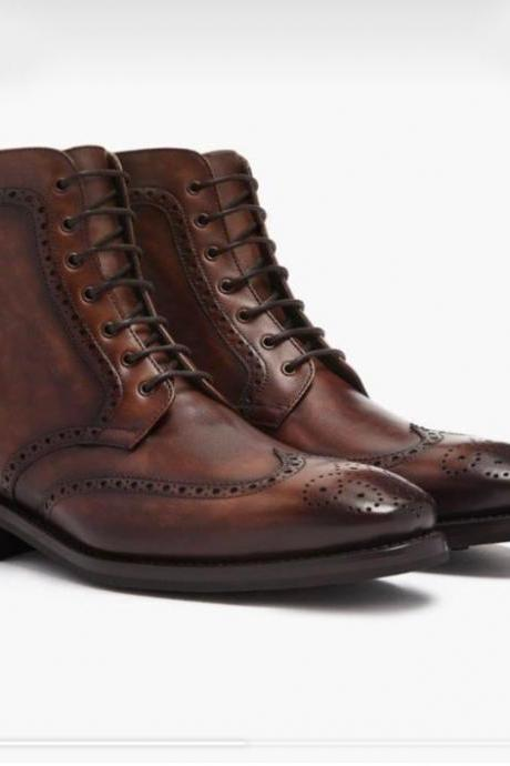 Handmade Men's Ankle Dark Brown Wing Tip Brogue Leather Boots For Men's