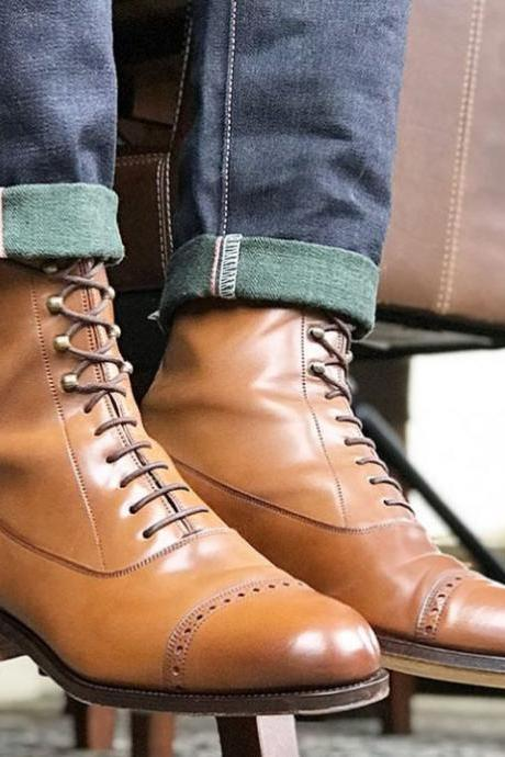 Handmade Tan Cap Toe Ankle Boots Men's Leather Lace Up Boot