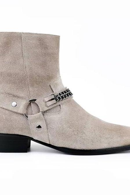 Men's Handmade White Madrid Straps & Chain Style Suede Ankle Boot