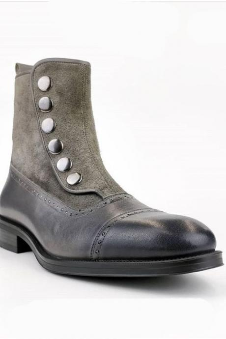 Men's Gray Ankle High Button Top & Side Zipper Cap Toe Leather Suede Boot