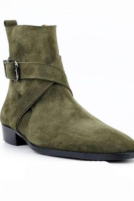Men's Olive Green Ankle High Jodhpurs Side Zipper Suede Boot