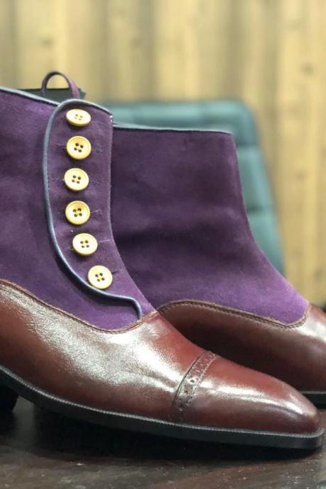 Men's Purple & Brown Ankle High Button Top Cap Toe Leather Suede Boot