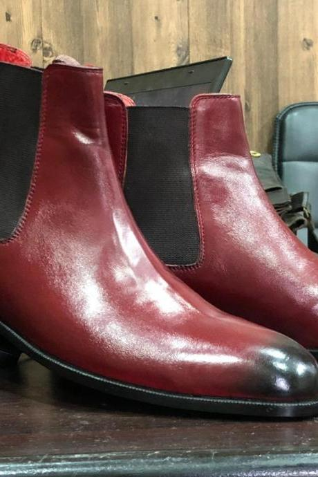 Handmade 2 Tone Burgundy Leather Chelsea Ankle High Boots for Men's