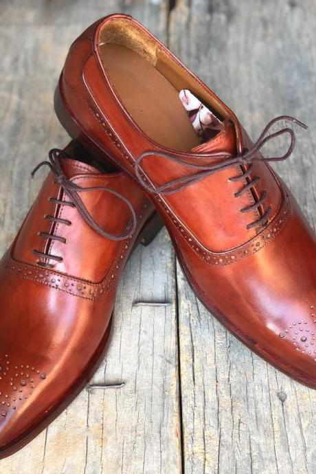 New Handmade Brown Brogue Leather Lace Up Shoes For Men's