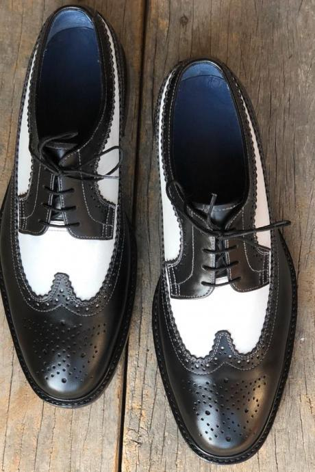 Men's Handmade White & Black Wing Tip Brogue Leather Lace Up Shoes