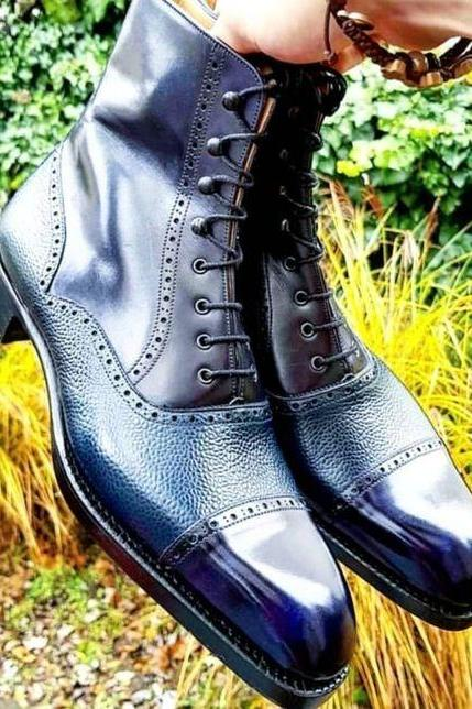 Men's Handmade Blue Cap Toe Ankle Boots Men's Pebbled Leather Lace Up Boot