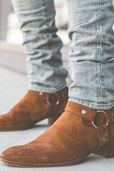 Men's Handmade Tan Madrid Straps Suede Ankle Boot For Men's