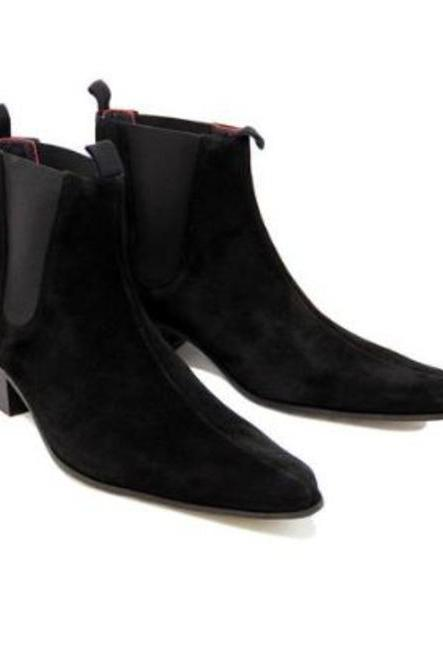 Handmade Ankle High Black Chukka Boots,Chelsea Suede Boot For Men's