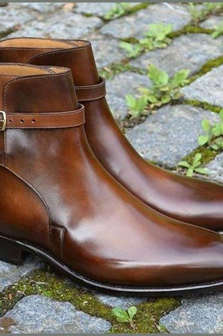 Men's Handmade Tan Ankle High Jodhpurs Leather Boot