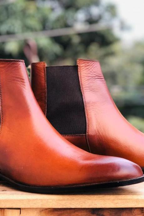 Handmade Ankle High Tan Boots,Chelsea Leather Boot For Men's
