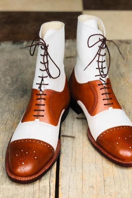 Men's Handmade White & Tan Cap Toe Brogue Ankle High Boots Men's Leather Lace Up Boot