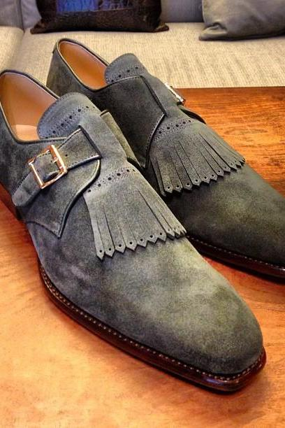 New Handmade Gray Suede Fringe Monk Buckle Shoes For Men's