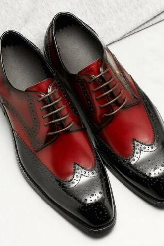 Handmade Stylish Oxblood Wing Tip Brogue Leather Shoes For Men's