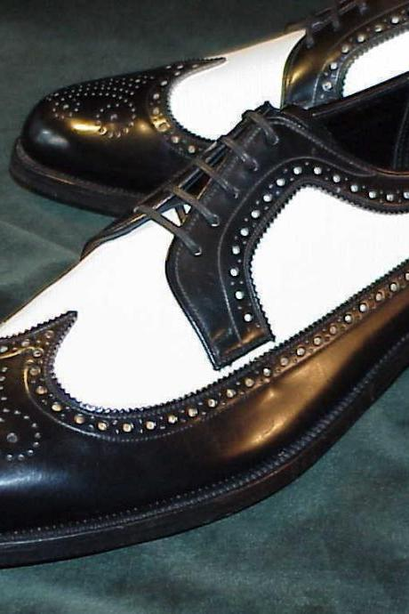 Men's Handmade Stylish White & Black Wing Tip Brogue Leather Shoes