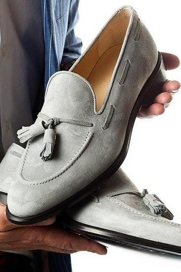Handmade Gray Men's Suede Tussles Loafers Shoes For Men's