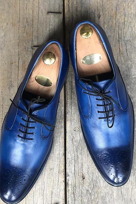 Handmade Stylish Blue Brogue Pointed Toe Leather Lace Up Shoes