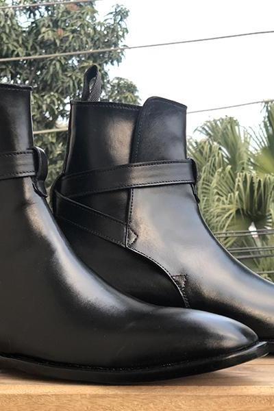 Men's Handmade Black Ankle High Jodhpurs Leather Boot