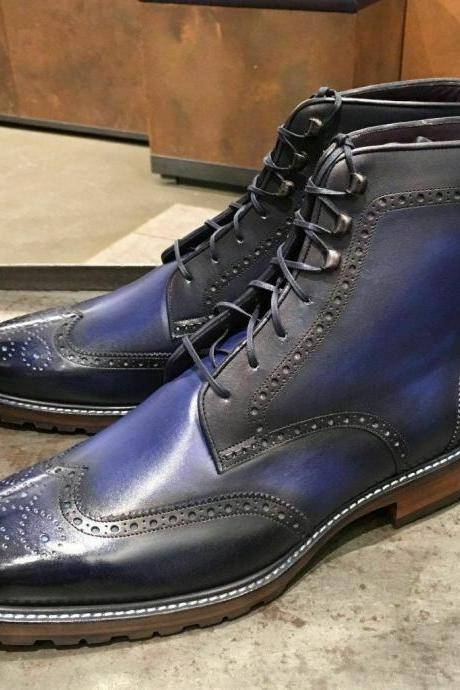 Men's Handmade Ankle High Black Blue Wing Tip Brogue Leather Lace Up Boot